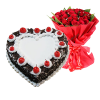 Black Forest Heart shaped Cake with a Bouquet