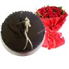 Chocolate Truffle Cake with a red roses bouquet