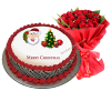 Christmas Cake with a red roses bouquet