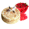 butterscotch cake with red roses bouquet
