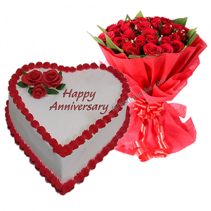 Anniversary Cake with 10 Roses