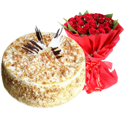 Butter Scotch Cake with Bouquet