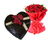 Chocolate heart shaped cake with a red roses bouquet