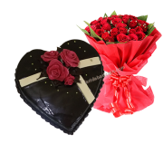 Heart Shape Chocolate Cake with roses