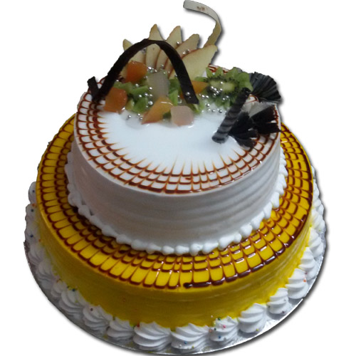 2 Tier Fresh Fruit Cake