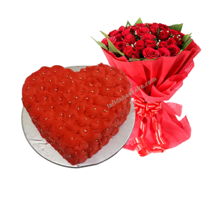 Heart Shaped Cake with 10 Roses