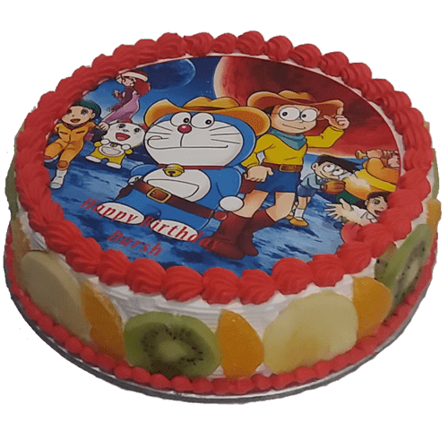 Fresh Fruit Doraemon Cake