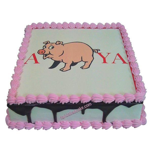 Pet Pig Photo Cake Design