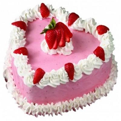 Heart-shaped Strawberry Cake