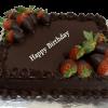 Chocolate truffle with fresh strawberries