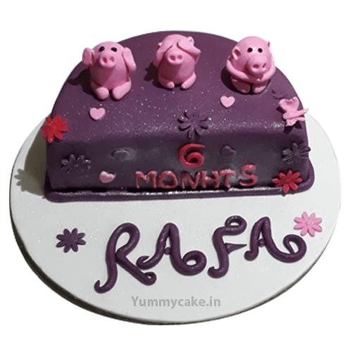 6 Month Birthday Cake