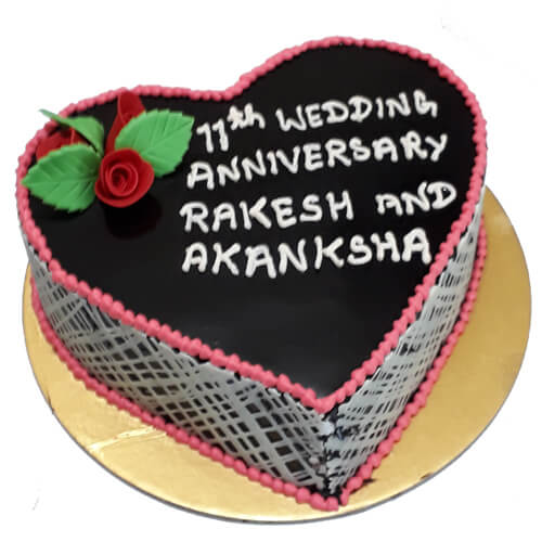 Black Forest Heart Shaped Cake