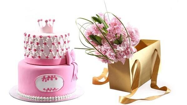 birthday cake and flower for girl