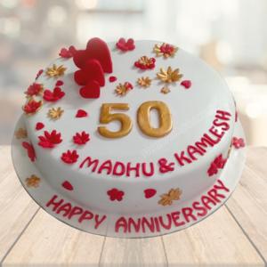 50th Marriage Anniversary Cake